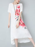 ByChicStyle Casual Round Neck Asymmetric Hem Floral Printed Shift Dress