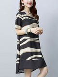 ByChicStyle Round Neck High-Low Printed Short Sleeve Shift Dress - Bychicstyle.com