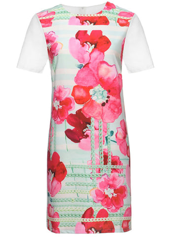 Round Neck Floral Printed Shift Dress - Bychicstyle.com