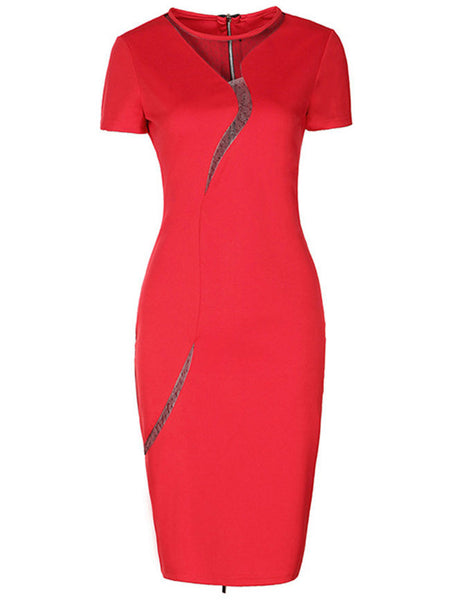 Modern Crew Neck Zips Hollow Out Bodycon Dress - Bychicstyle.com
