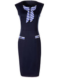 ByChicStyle Casual Elegant Round Neck Striped Bowknot Bodycon Dress