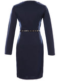 ByChicStyle Casual V-Neck Belt Decorative Button Plain Office Bodycon Dress