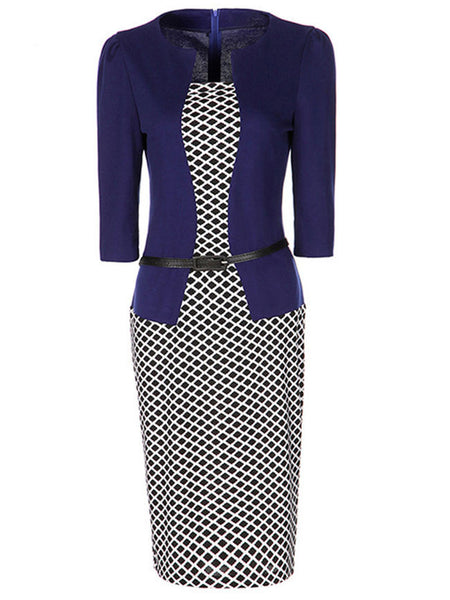 Casual Belt Plaid Office Bodycon Dress
