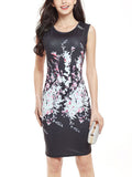 ByChicStyle Chic Round Neck Sleeveless Printed Bodycon Dress - Bychicstyle.com