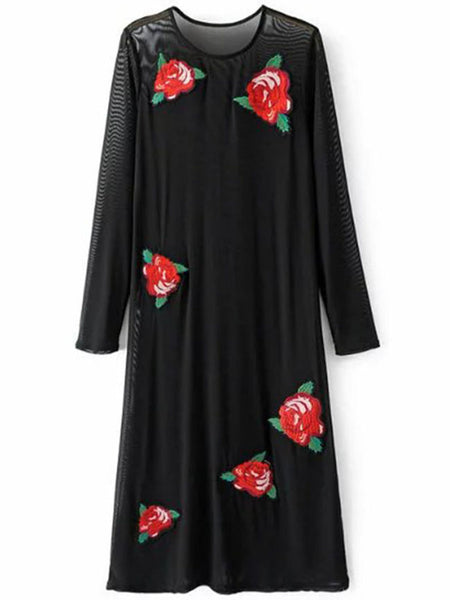 Casual Round Neck Applique Long Sleeve Loose Maxi Dress