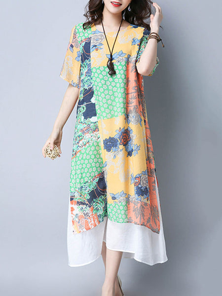 Loose Round Neck Unique Printed Maxi Dress - Bychicstyle.com