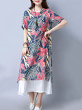 ByChicStyle Loose Round Neck Unique Printed Maxi Dress - Bychicstyle.com