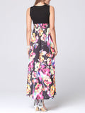 ByChicStyle Casual Deep V-Neck Floral Printed Empire Maxi Dress