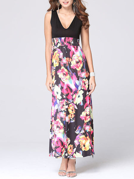 Casual Deep V-Neck Floral Printed Empire Maxi Dress
