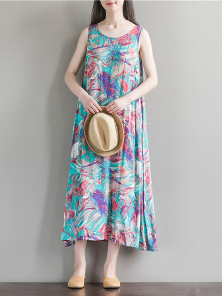 Loose Round Neck Pocket Abstract Print Maxi Dress - Bychicstyle.com