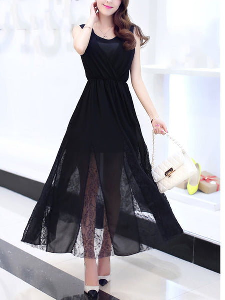 Flowing Patchwork Hollow Out Plain Chiffon Maxi Dress - Bychicstyle.com