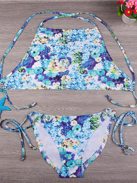 Sexy Halter Floral Bikini - Bychicstyle.com