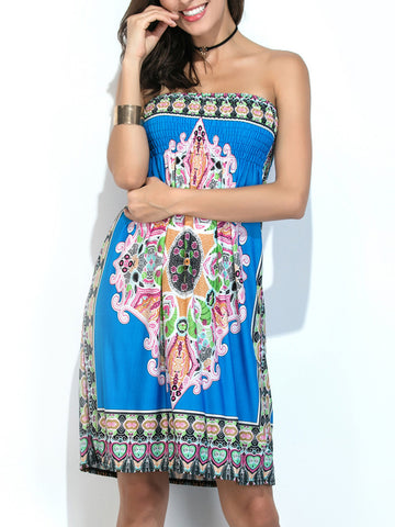 Strapless Smocked Bodice Tribal Printed Shift Dress - Bychicstyle.com