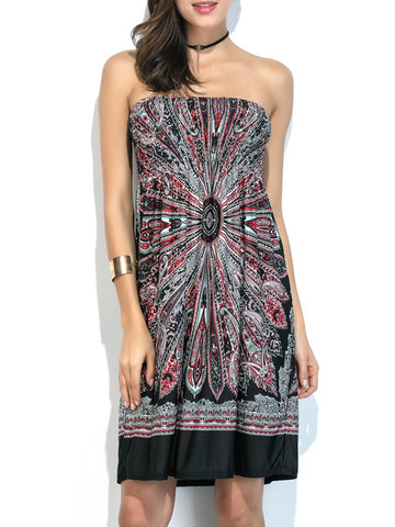 Strapless Smocked Bodice Printed Empire Shift Dress - Bychicstyle.com