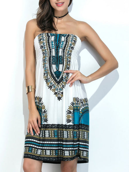 Strapless Smocked Bodice Shift Dress In Tribal Printed - Bychicstyle.com