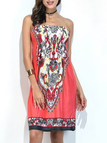 Ethnic Style Strapless Smocked Bodice Printed Shift Dress - Bychicstyle.com