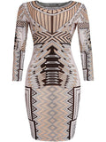 ByChicStyle Round Neck Special Printed Bodycon Dress - Bychicstyle.com