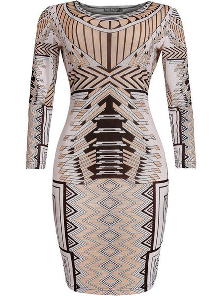 Round Neck Special Printed Bodycon Dress - Bychicstyle.com
