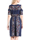 ByChicStyle Open Shoulder Elastic Waist Printed Skater Dress - Bychicstyle.com