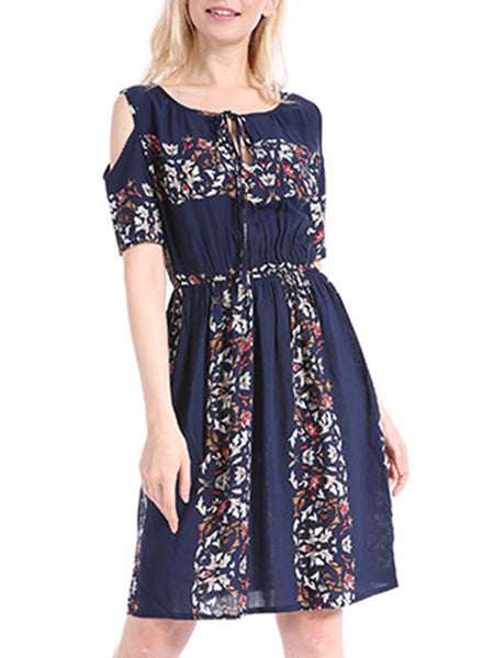 Open Shoulder Elastic Waist Printed Skater Dress - Bychicstyle.com