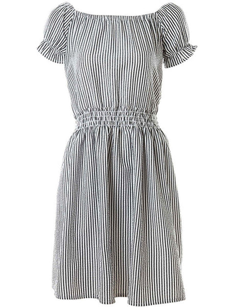 Pinstripe Off Shoulder Elastic Waist Skater Dress - Bychicstyle.com