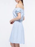 ByChicStyle Pinstripe Off Shoulder Elastic Waist Skater Dress - Bychicstyle.com