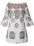 ByChicStyle Off Shoulder Tribal Printed Bell Sleeve Shift Dress - Bychicstyle.com