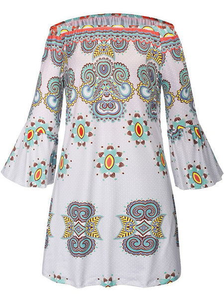 Off Shoulder Tribal Printed Bell Sleeve Shift Dress - Bychicstyle.com