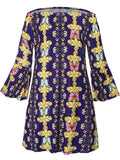 ByChicStyle Off Shoulder Bell Sleeve Printed Shift Dress - Bychicstyle.com