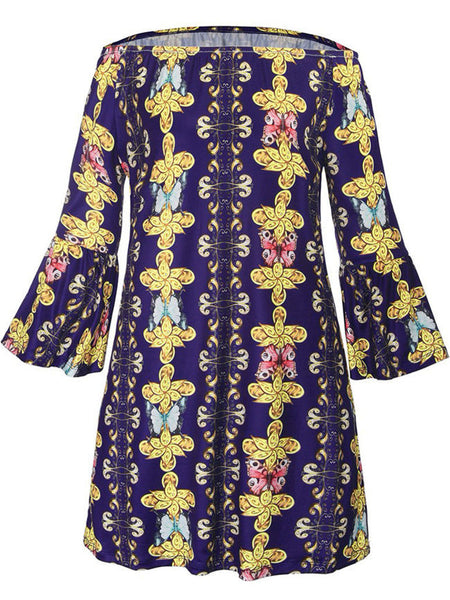 Off Shoulder Bell Sleeve Printed Shift Dress - Bychicstyle.com