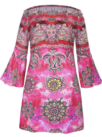 Off Shoulder Fabulous Printed Bell Sleeve Shift Dress - Bychicstyle.com