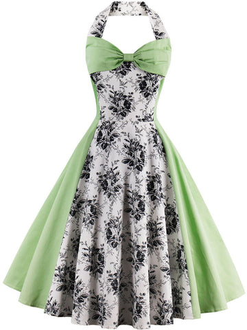 Captivating Halter Bowknot Color Block Floral Skater Dress - Bychicstyle.com