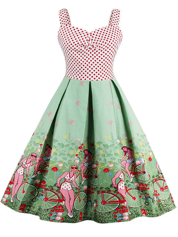 Charming Sweet Heart Color Block Polka Dot Skater Dress - Bychicstyle.com