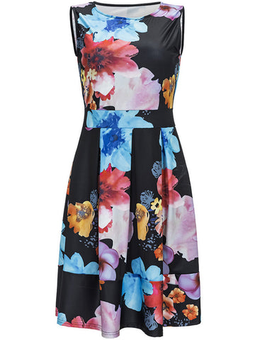 Charming Round Neck Floral Sleeveless Skater Dress - Bychicstyle.com