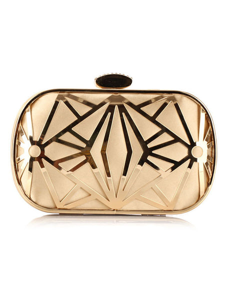 Gold Geometric Chain Evening Clutch Bag - Bychicstyle.com