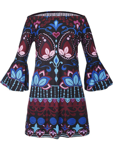 Excellent Bell Sleeve Off Shoulder Printed Shift Dress - Bychicstyle.com
