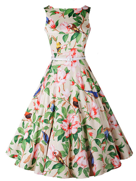 Captivating Boat Neck Belt Bird Floral Printed Skater Dress - Bychicstyle.com