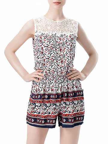 Crew Neck Elastic Waist Pocket Hollow Out Printed Romper - Bychicstyle.com
