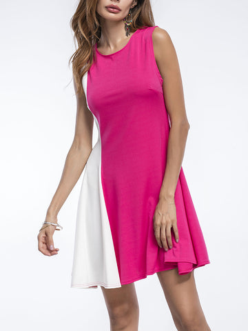 Charming Color Block Round Neck Sleeveless Skater Dress - Bychicstyle.com
