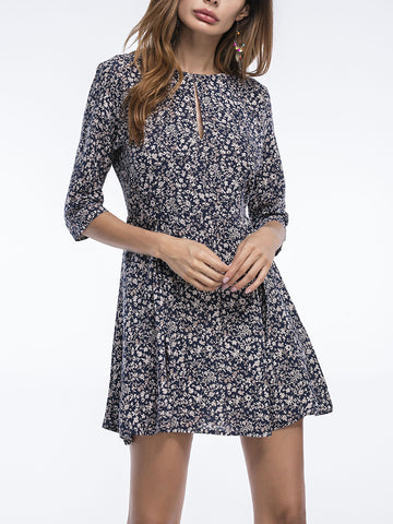 Round Neck Keyhole Tiny Floral Mini Skater Dress - Bychicstyle.com