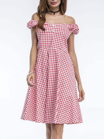 Casual Plaid Off Shoulder Decorative Button Skater Dress