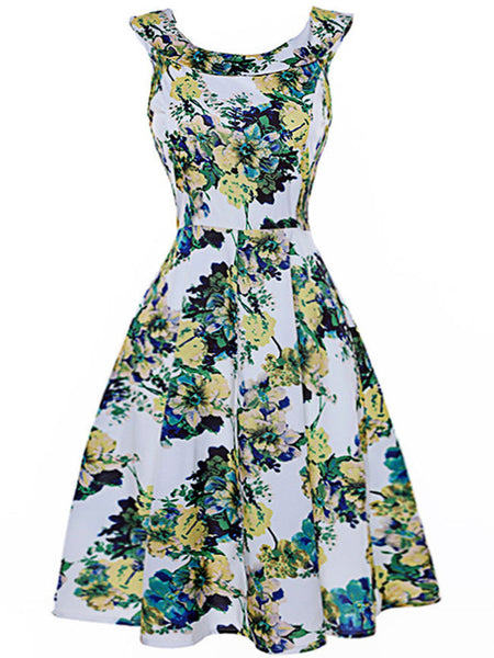 Delicate Floral Printed Round Neck Skater Dress - Bychicstyle.com