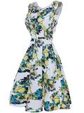 ByChicStyle Delicate Floral Printed Round Neck Skater Dress - Bychicstyle.com