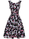 ByChicStyle Round Neck Extraordinary Floral Printed Skater Dress - Bychicstyle.com