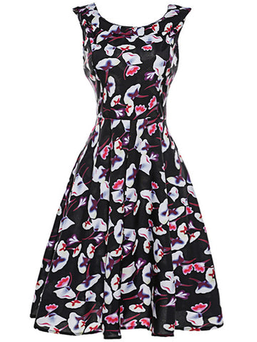 Round Neck Extraordinary Floral Printed Skater Dress - Bychicstyle.com