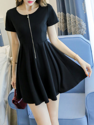 Simple Solid Round Neck Zips Skater Dress - Bychicstyle.com