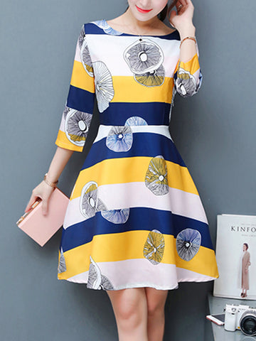 Round Neck Printed Striped Skater Dress - Bychicstyle.com
