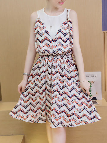 Casual Zigzag Striped Round Neck Elastic Waist Skater Dress