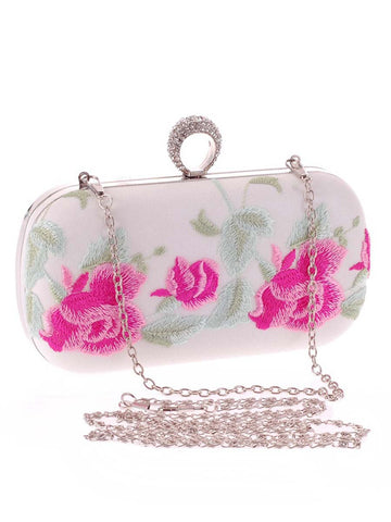 Floral Embroidery Evening Clutch Bag - Bychicstyle.com