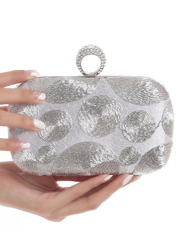 Silver Beading Evening Clutch Bag - Bychicstyle.com